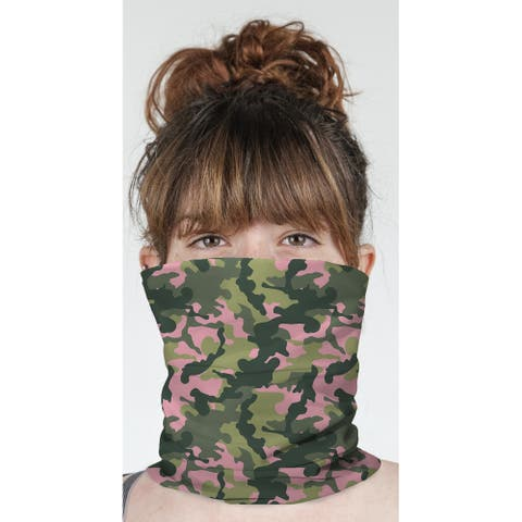 """CAMO FLOW PINK AND GREEN Neck Gaiter By Kavka Designs - 10"""" x 18"""""""