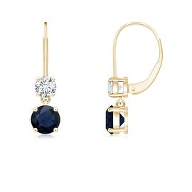 Blue Sapphire Leverback Dangle Earrings with Diamond in 14K Yellow Gold(4mm Blue Sapphire)