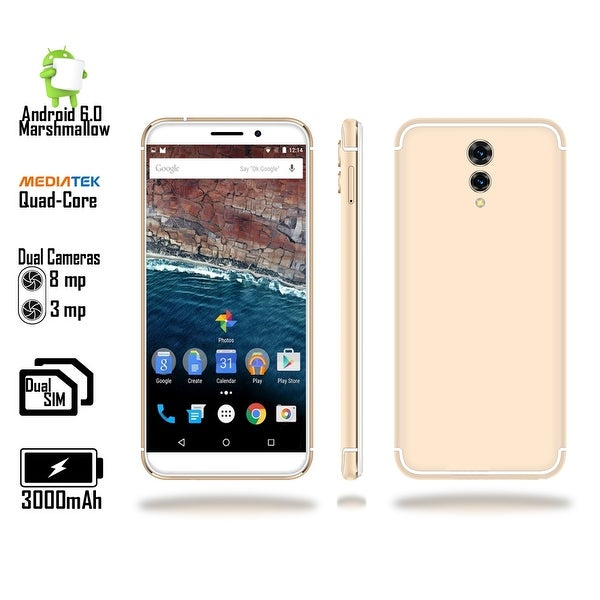 "Indigi 2018 GSM Unlocked 4G LTE Android 6.0 Marshmallow 5.6"" SmartPhone [Quad-CORE @ 1.2GHz + 2SIM + Fingerprint] Gold"