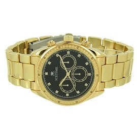 Mens Classy Watch Black Dial 0.10 CT Real Diamonds Chronograph Analog Display