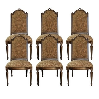 Manchester Side chair with Fabric Back - Set of 6 - Brown
