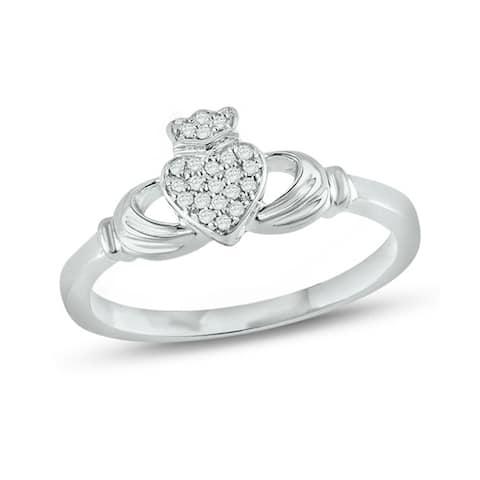 Cali Trove 14K White Gold Accent Round White Natural Diamond Claddagh Fashion Ring
