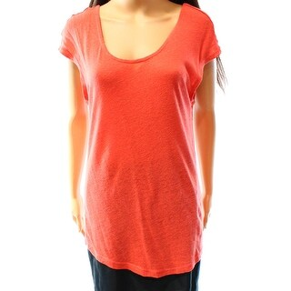 Trouve NEW Orange Women's Size Small S Scoop Neck Short Sleeve Knit Top