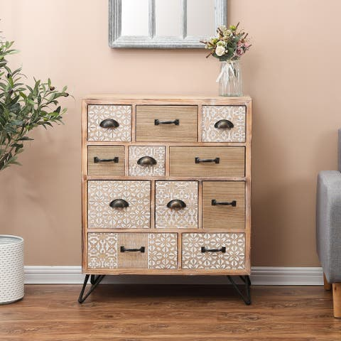 Metal and Wood 11-Drawer Chest
