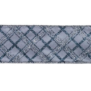 """Alpine Chic Silver, Gray and Blue Sparkling Plaid Wired Christmas Ribbon 2.5"""" x 10"""" Yards"""