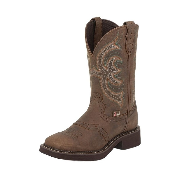 Justin Western Boots Womens Leather Inji Brown Aged Bark L9984