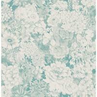 Brewster 2669-21717 Kita Turquoise Song Garden Wallpaper - turquoise garden
