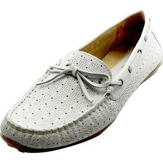 Vaneli Abez Women Moc Toe Leather White Boat Shoe