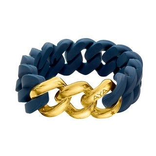 Silix by Aya Navy Silicon Bracelet with 18K Gold-Plated Stainless Steel - Yellow