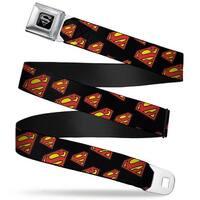 Superman Black Silver Super Shield Diagonal Black Red Webbing Seatbelt Belt Seatbelt Belt