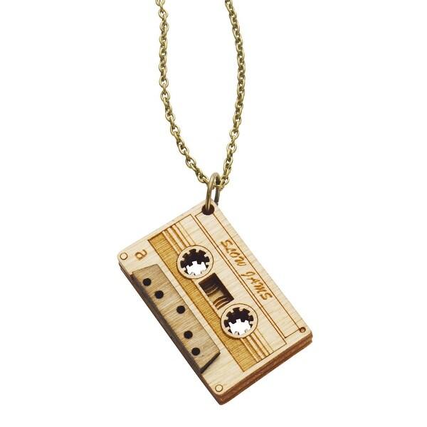 Unpossible Cuts Cassette Tape Necklace Laser Cut Wood Pendant 18 Brass Chain
