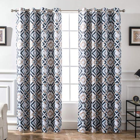 DriftAway Diamond Watercolor Geo Pattern Window Curtain Panel Pair