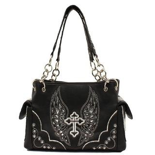 Blazin Roxx Western Handbag Womens Satchel Cross Wings Black N7558401 - 13 x 4 1/2 x 8