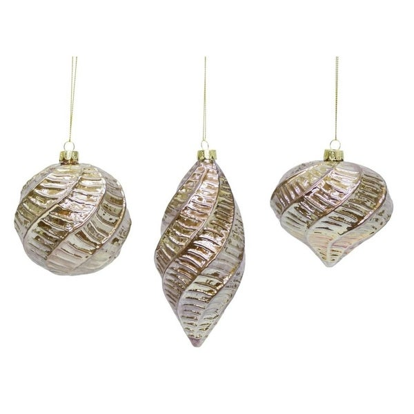 Pack of 12 Decorative Glass Swirl Style Ornaments