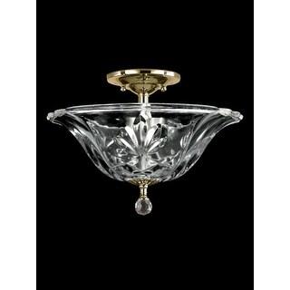 "11.75"" Polished Brass Angelino Crystal Flush Mount Ceiling Light Fixture"