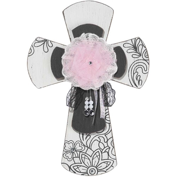 "16"" Black and Pink Jewel Centered Religious Wall Cross - N/A"