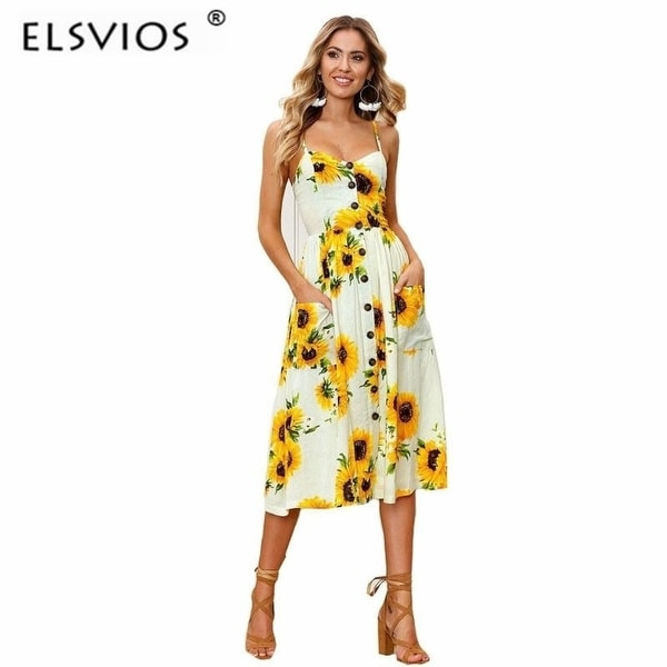 33b6b9fbe9aeaa Elsvios 2018 Sunflower Pineapple Floral Print Summer Dress Women Beach Boho  Style Hot V Neck Strap