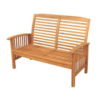 Offex Acacia Wood Patio Loveseat Bench - Brown