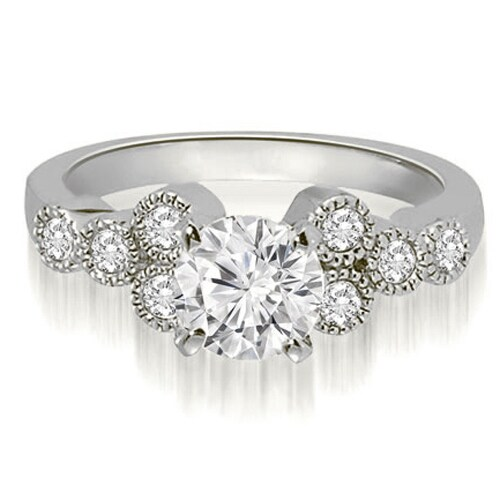 0.82 cttw. 14K White Gold Milgrain Round Cut Cluster Diamond Engagement Ring