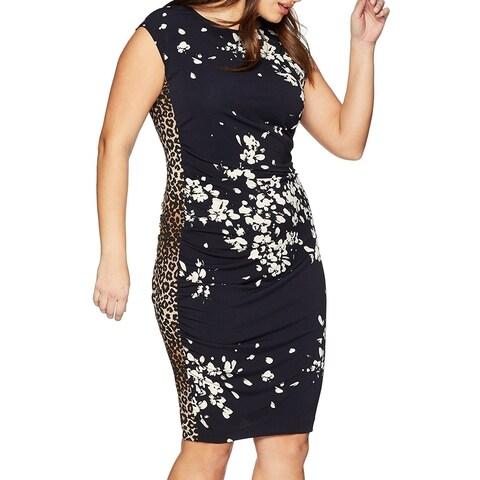 Rachel Roy Navy Blue Womens Size 1X Plus Contrast Sheath Dress
