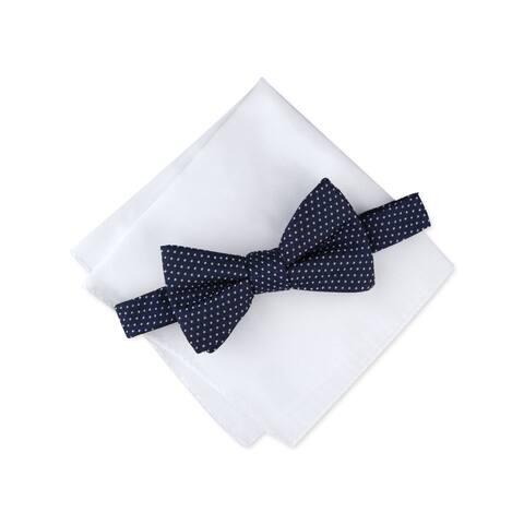 ALFANI Mens Navy Pin Dot Pre-Tied Sets
