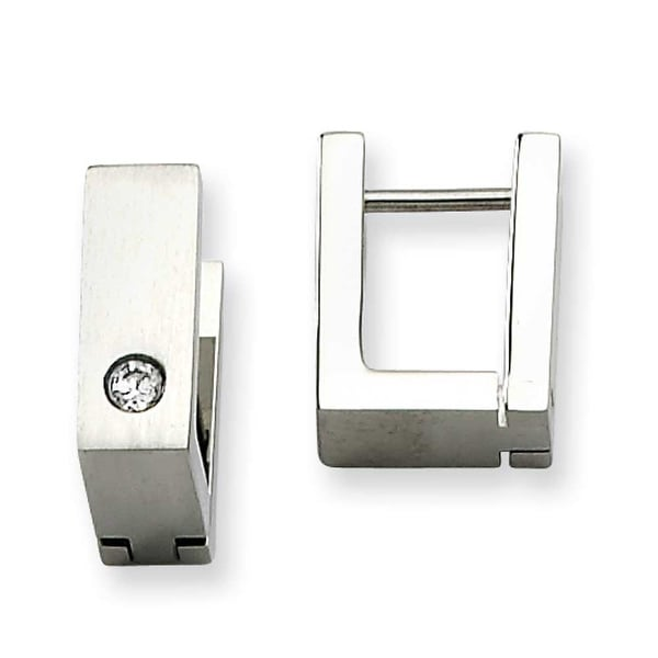 Chisel Stainless Steel CZ Satin Hinged Square Hoop Earrings