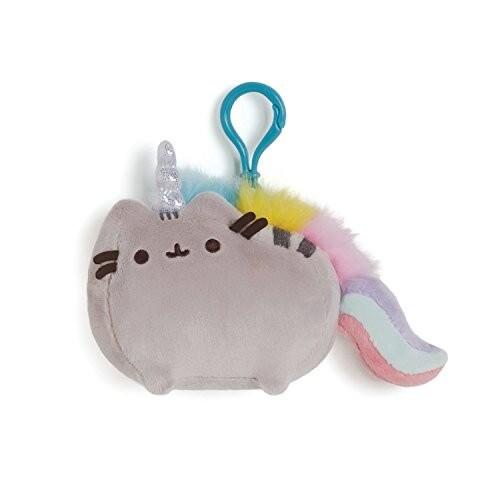 """GUND Pusheenicorn Backpack Clip Plush Figurine, Grey/Rainbow, 4.5"""" x 3.5"""""""
