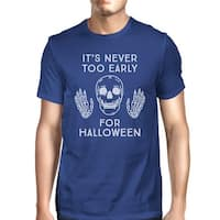 It's Never Too Early For Halloween T-Shirt Mens Blue Skull Shirt
