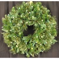 "Christmas at Winterland WL-GWBM-02-LWW 24"" Pre-Lit Warm White LED Blended Pine Wreath Indoor / Outdoor - Warm White - N/A"