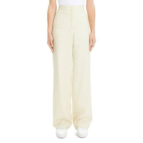 Theory Womens Trouser Pants High Waist Wide Leg - Light Linen