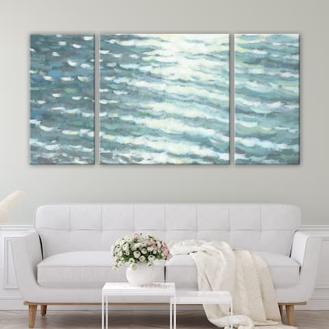 3 PC Sunlit Waves 30 x 60 Beach Triptych Wall Art by Norman Wyatt Home
