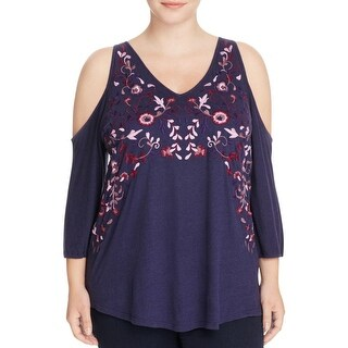 Lucky Brand Womens Plus Casual Top Open Shoulder Floral