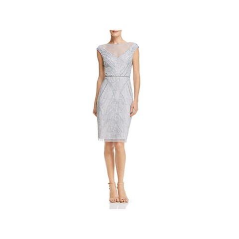 Adrianna Papell Womens Cocktail Dress Knee-Length Embellished