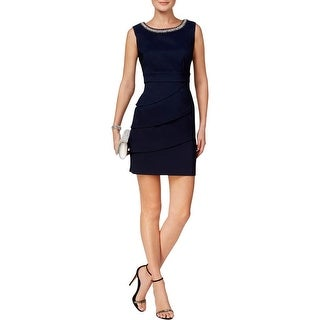 Connected Apparel Womens Petites Cocktail Dress Embellished Knee-Length - 10P