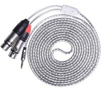 LyxPro Y-Cable 3.5mm TRS Male to 2 XLR Female Stereo Audio Y-Splitter Adapter Cable - 10 Feet
