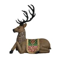 "47"" Commercial Grade Sitting Reindeer Fiberglass Christmas Decoration"