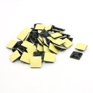 Unique Bargains 50 Pcs Plastic 4 Way Square Self-adhesive Cable Tie Base Holder