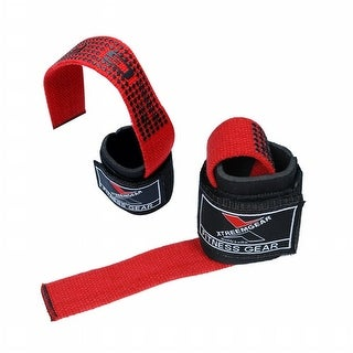 WEIGHTLIFTING BAR STRAPS WRIST SUPPORT WRAP BANDAGE NEOPRENE PAD LG-23 - Red