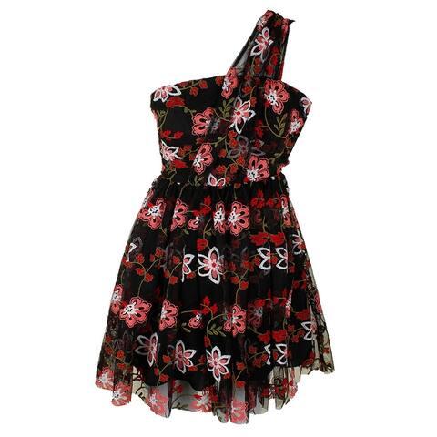 Bcbgeneration Black Multi Floral Embroidered One Shoulder Mesh A-Line Dress 0
