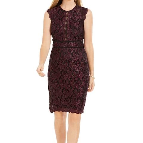 Nightway Women's Dress Purple Size 14 Sheath Lace Shimmer Scallop Trim