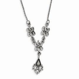 Silvertone Downton Abbey Antiqued Hematite Necklace - 16in