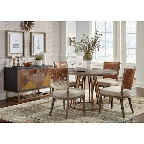 Austin Hair On Hide Leather & Linen Side Chair with Oak Frame (Set of 2)