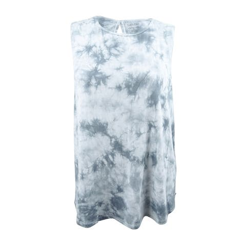 Calvin Klein Performance Women's Plus Size Tie-Dyed Keyhole Top