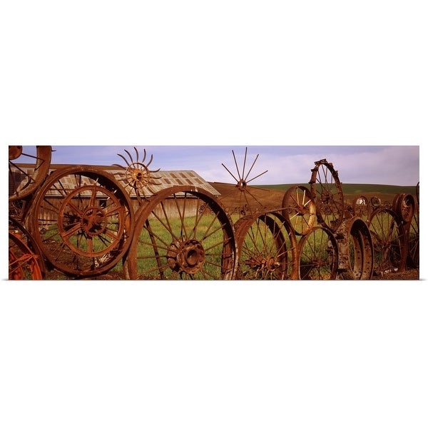 """""""Old barn with a fence made of wheels, Palouse, Whitman County, Washington State,"""" Poster Print"""