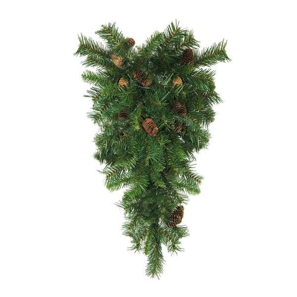 "42"" Dakota Red Pine Artificial Christmas Teardrop Swag with Pine Cones - Unlit"