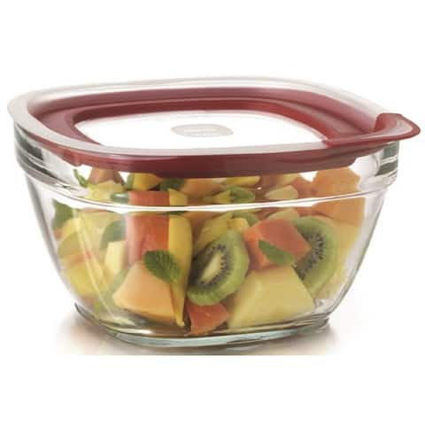 Rubbermaid 2856007 Food Storage Container With Easy Find Lid, 11.5 cup, Glass