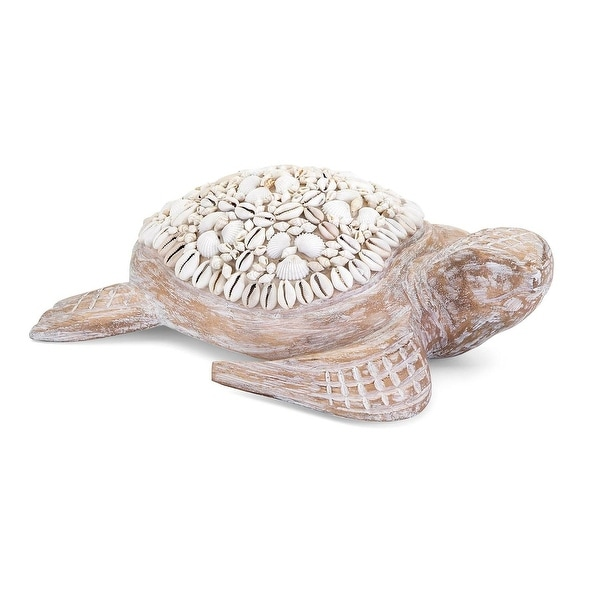 "12.75"" Decorative ""Hydra"" Mosaic Carved Wood and Seashell Turtle Table Top Decor"