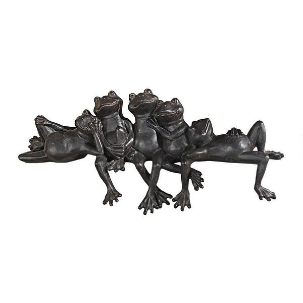 """15.5"""" Frog Family Sitting Hand-painted Statue - N/A"""