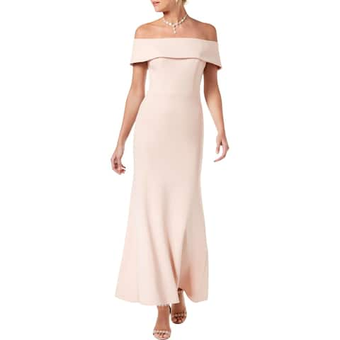 Betsy & Adam Womens Petites Evening Dress Crepe Off-The-Shoulder