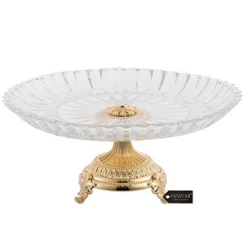 Matashi Crystal Cake Plate Centerpiece Decorative Dish, Round Serving Platter with 24K Gold Plated Pedestal Base for Weddings